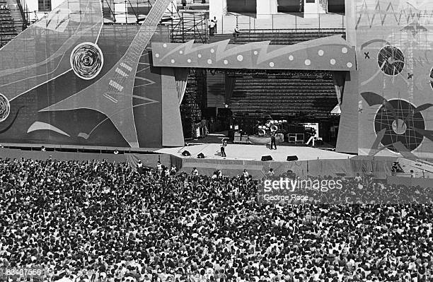 A view of some of the more than 100000 people attending a 1981 Los Angeles California Rolling Stones concert at the Coliseum in downtown Los Angeles