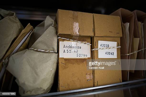 A view of some of the shelves where hundreds of files line the archives of the former East German secret police known as the Stasi on September 17...