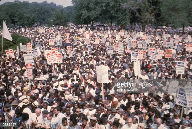 View of some of the thousands of civil rights demonstrators gathered in Washington DC for the March on Washington Washington DC August 28 1963