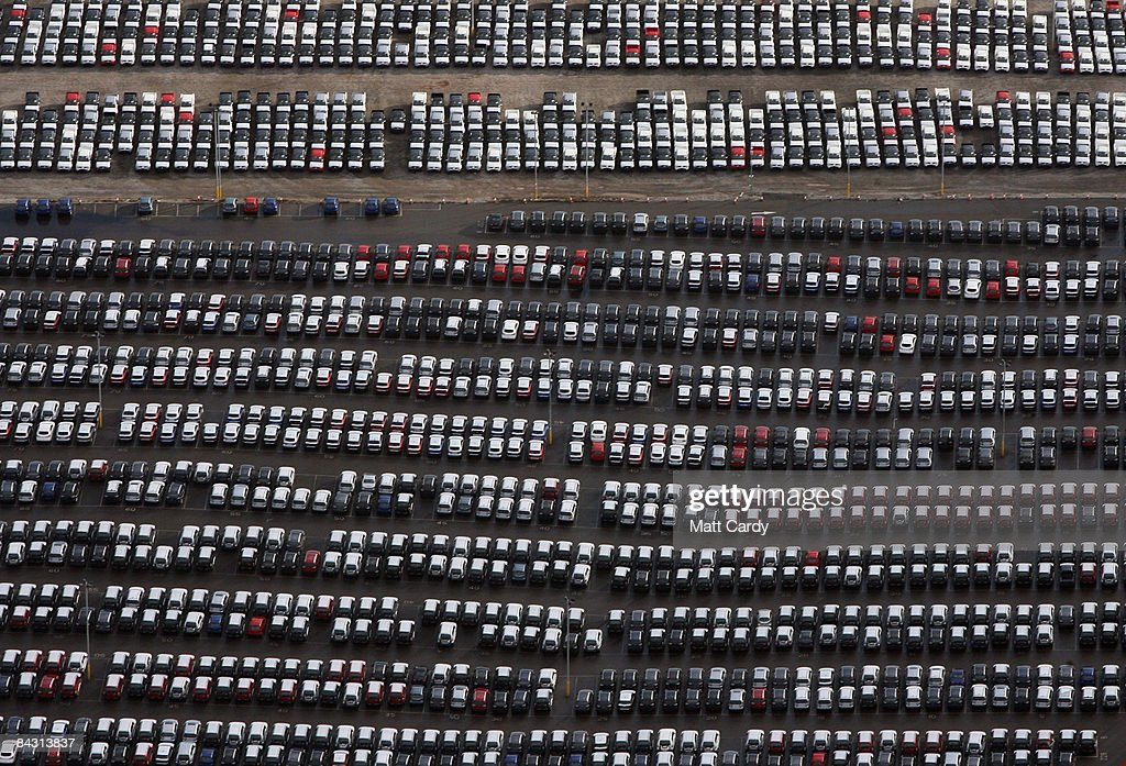 A view of some of the thousands of unsold cars currently being stored at Avonmouth Docks on January 16 2009 at Avonmouth England Sales of new cars in...