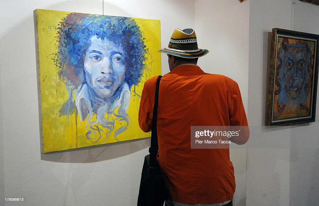A view of some pictures that are dispayed during the opening of Amanda Lear exhibition at Milano Art Gallery on July 31, 2013 in Milan, Italy.