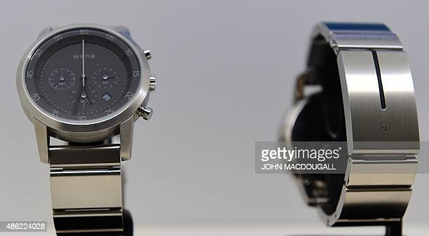 View of Sony's Wena smartwatch at the booth of Japan's electronics giant Sony ahead of the opening of the 55th IFA on September 2 2015 in Berlin IFA...