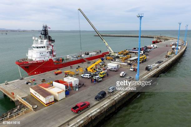 View of Sophie Siem vessel docked at Comodoro Rivadavia harbour in Chubut Argentina on November 24 2017 where the US Navy deep diving rescue vehicle...