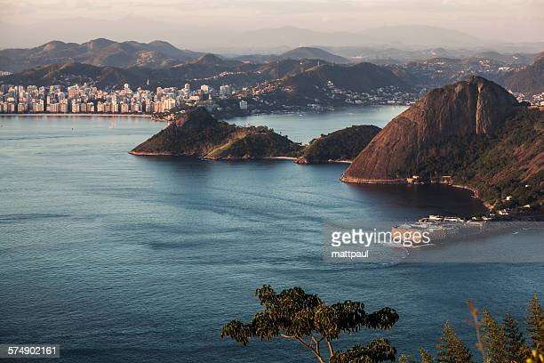 View of southern part of Niteroi at sunset, Rio de Janeiro, Brazil