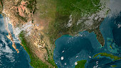 View of Southern United States and Mexico.