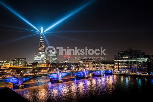 View Of Southwark Bridge And The Shard At Night Stock Photo