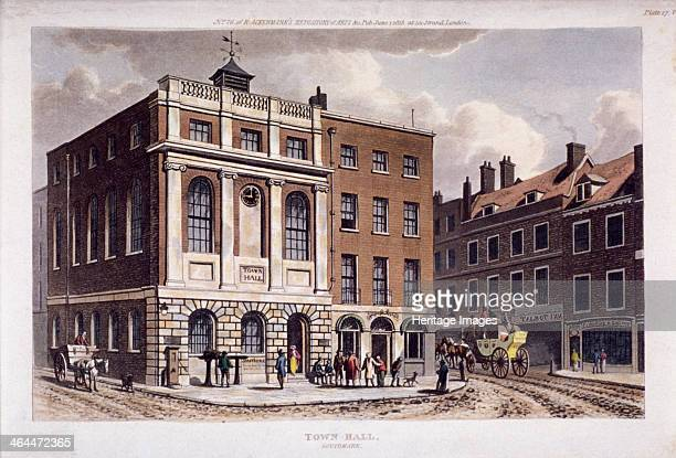 View of Southwark Town Hall Southwark London 1815 shows figures in the street and a carriage just leaving the Tabard Inn on Borough High Street The...