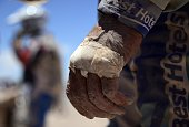 View of Spain's Marc Pedrola hand during the Stage 5 of the Dakar 2015 between Copiapo and Antofogasta Chile on January 8 2015 AFP PHOTO / FRANCK...