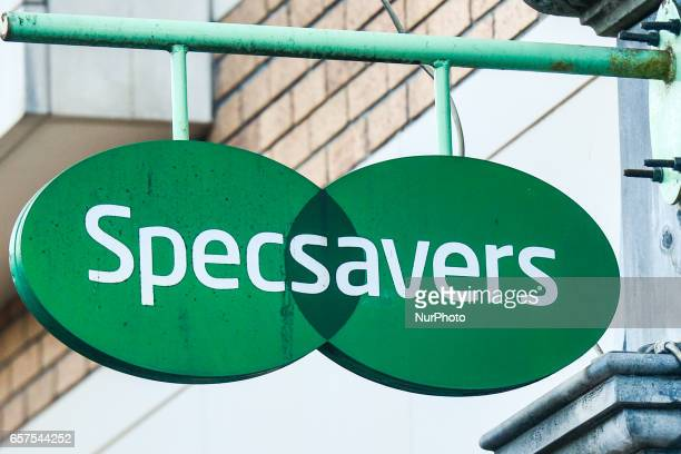 A view of Specsavers logo in Dublin's city center On Friday March 24 in Dublin Ireland