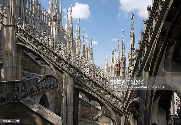 View of spires and buttresses Milan Cathedral, Milan, Lombardy, Italy