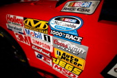 A view of sponsor decals during practice for the NASCAR Nationwide Series Virginia 529 College Savings 250 at Richmond International Raceway on...