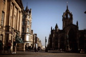 A view of St Giles Cathederal on the Royal Mile on March 27 2012 in Edinburgh Scotland A favourite with visitors and one of the busiest streets in...