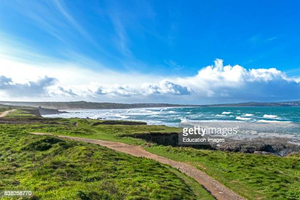 A view of St Ives Bay from Godrevy in Cornwall England UK
