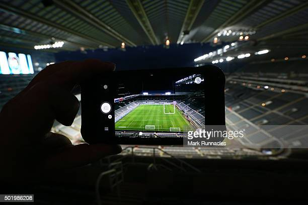 A view of St James' Park through an iPhone 6 ahead of the Barclays Premier League match between Newcastle United FC and Aston Villa FC at St James'...