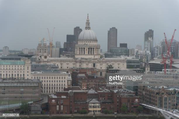 View of St Paul's Cathedral and the creanes of construction sites London on June 27 2017 St Paul's Cathedral London is an Anglican cathedral the seat...