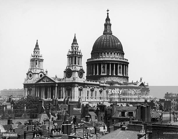 A view of St Paul's Cathedral over the rooftops of the City of London circa 1870