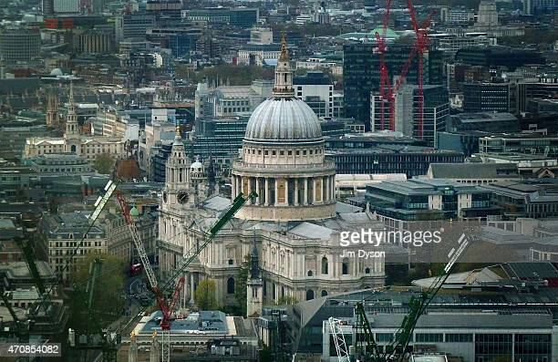 A view of St Paul's Cathedral seen from the Sky Garden of 20 Fenchurch Street on April 22 2015 in London England Number 20 Fenchurch Street in the...