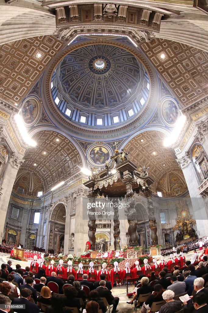 A view of St. Peter's Basilica during a mass for the Solemnity of Saint Peter and Paul held by <a gi-track='captionPersonalityLinkClicked' href=/galleries/search?phrase=Pope+Francis&family=editorial&specificpeople=2499404 ng-click='$event.stopPropagation()'>Pope Francis</a> at Vatican Basilica on June 29, 2013 in Vatican City, Vatican. <a gi-track='captionPersonalityLinkClicked' href=/galleries/search?phrase=Pope+Francis&family=editorial&specificpeople=2499404 ng-click='$event.stopPropagation()'>Pope Francis</a> delivered the homily at Mass in St Peter's Basilica on Saturday morning, to mark the Solemnity of Saints Peter and Paul, Apostles and Patrons fo the city of Rome. In his remarks following the Gospel reading, the Holy Father focused on a particular task of the Petrine ministry, which is to strengthen, or confirm, all the faithful.