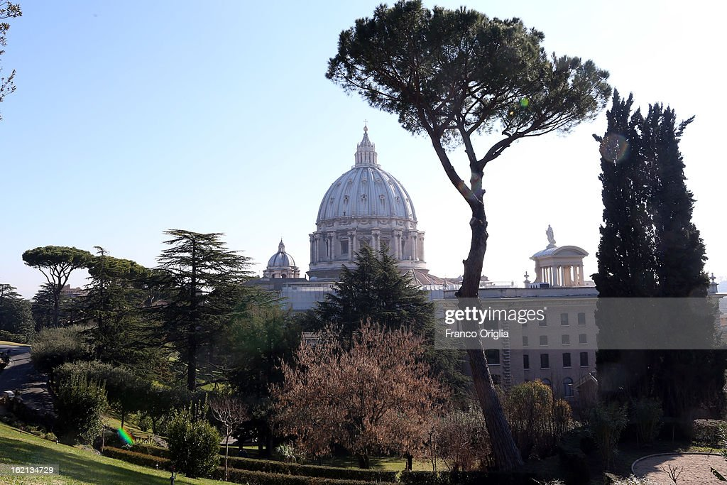 A view of St. Peter's Basilica from the Vatican Gardens on February 19, 2013 in Vatican City, Vatican. When Pope Benedict XVI steps down on February 28, 2013 after almost eight years serving as the 265th Pope, it is reported that he will live in the Vatican Gardens.
