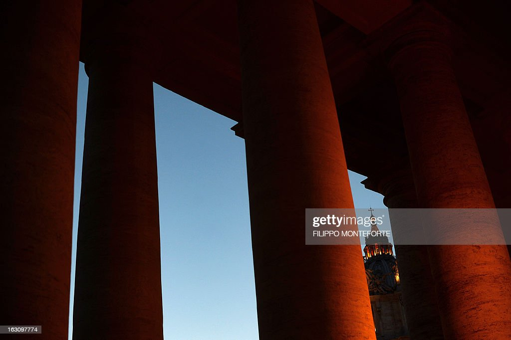 A view of St. Peter's Dome from the colonnades at the Vatican on March 4,2013. Cardinal started talks to set the date for the start of the conclave this month and help identify candidates among the cardinals to be the next Pope of the world's 1.2 billion Catholics. AFP PHOTO / FILIPPO MONTEFORTE