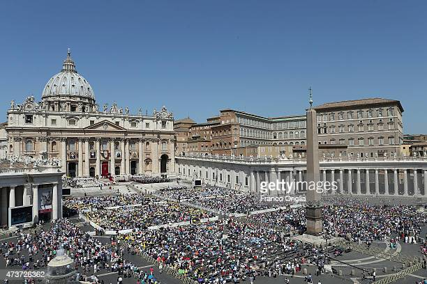 A view of St Peter's Square during a canonisation ceremony held by Pope Francis on May 17 2015 in Vatican City Vatican Pope Francis canonized four...