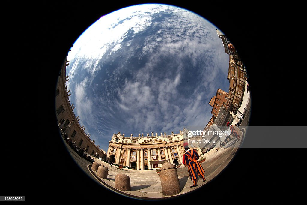 A view of St. Peter's square during a mass for the opening of the Synod of Bishops held by Pope Benedict XVI on October 7, 2012 in Vatican City, Vatican. Pontiff named today Spanish St John of Avila and German St Hildegard of Bingen as 'Doctors of the Church'.