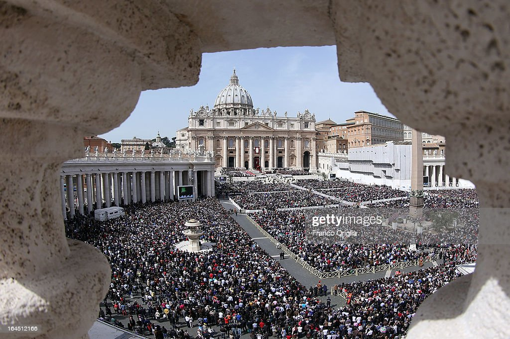 A view of St. Peter's Square during Palm Sunday Mass held by Pope Francis on March 24, 2013 in Vatican City, Vatican. Pope Francis lead his first mass of Holy Week as pontiff by celebrating Palm Sunday in front of thousands of faithful and clergy. The pope's first holy week will also incorporate him washing the feet of prisoners in a youth detention centre in Rome next Thursday, 28th March.
