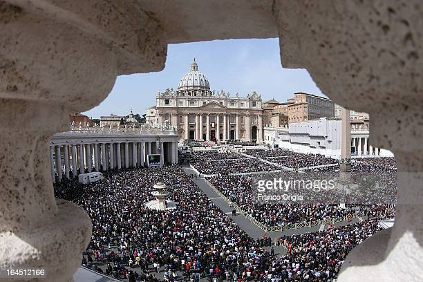 A view of St Peter's Square during Palm Sunday Mass held by Pope Francis on March 24 2013 in Vatican City Vatican Pope Francis lead his first mass of...