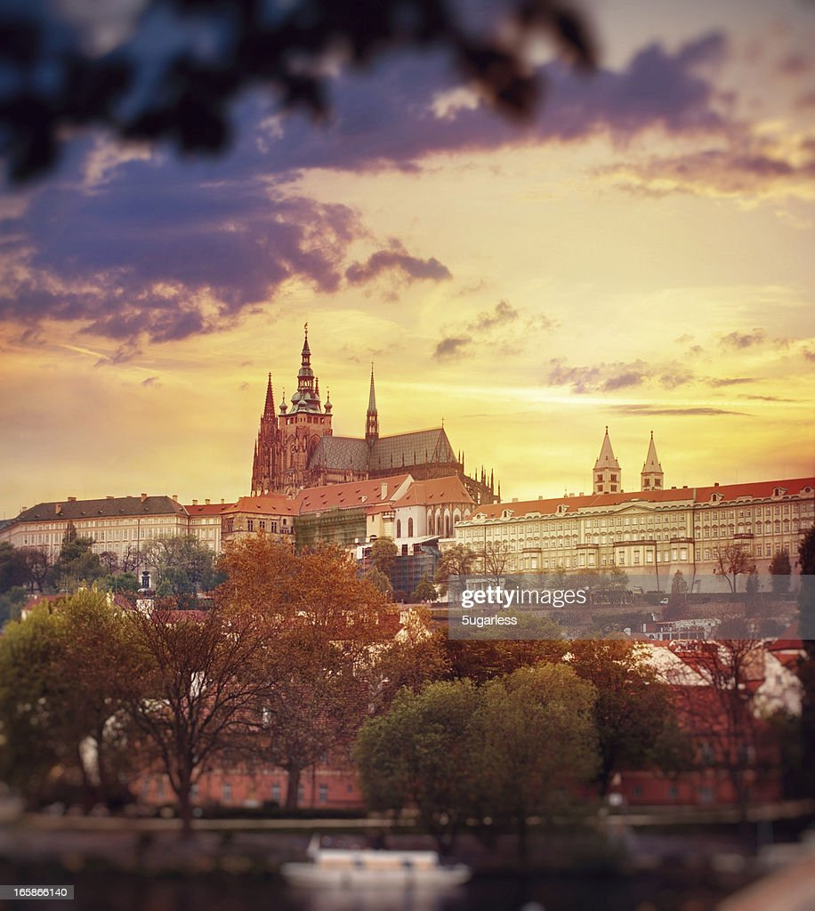 View of St. Vitus Cathedral at sunset