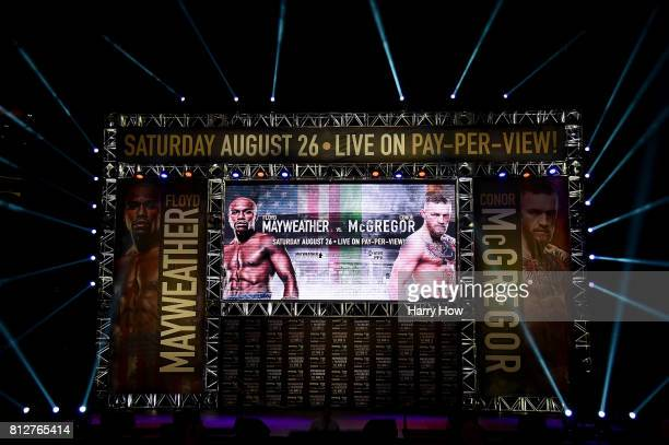 View of stage for the Floyd Mayweather Jr v Conor McGregor World Press Tour at Staples Center on July 11 2017 in Los Angeles California