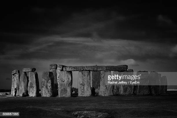 View Of Standing Stones Against Cloudy Sky
