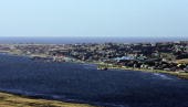 View of Stanley from Mount Longdon Falklands 20 March 2007 Mount Longdon near Stanley was one of the places where the soldiers bitterly fought during...