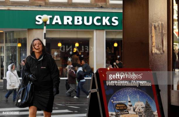 A view of Starbucks Coffee across the road from rival brand Costa Coffee in Nottingham