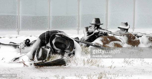 A view of statues covered with snow at Respect for History Park in Eceabat town of Gallipoli Canakkale where The Quinn's Post at the Battle of...