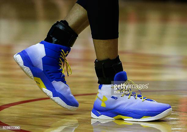 A view of Stephen Curry of the Golden State Warriors shoes at Toyota Center on April 24 2016 in Houston Texas NOTE TO USER User expressly...