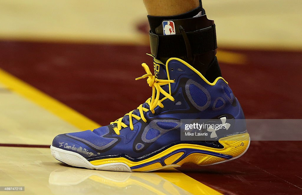 A view of Stephen Curry #30 of the Golden State Warriors' sneakers during the game against the Cleveland Cavaliers at Quicken Loans Arena on December 29, 2013 in Cleveland, Ohio.