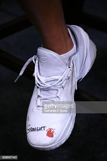 A view of Stephen Curry of the Golden State Warriors sneakers during practice and media availability as part of the 2016 NBA Finals on June 12 2016...