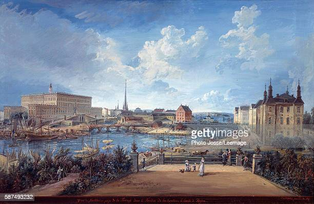 View of Stockholm from the Fersen Terrace with the Palace Makalos Painting by Elias Martin 18th century National Museum Stockholm Sweden