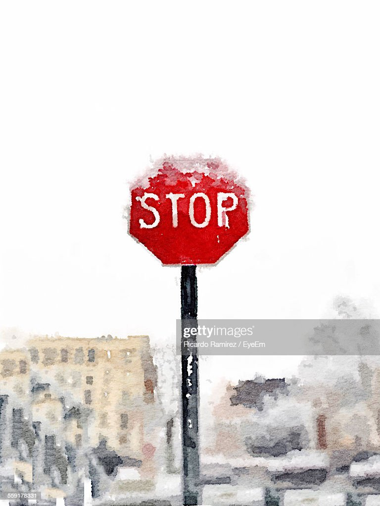 View Of Stop Sign : Stock Photo