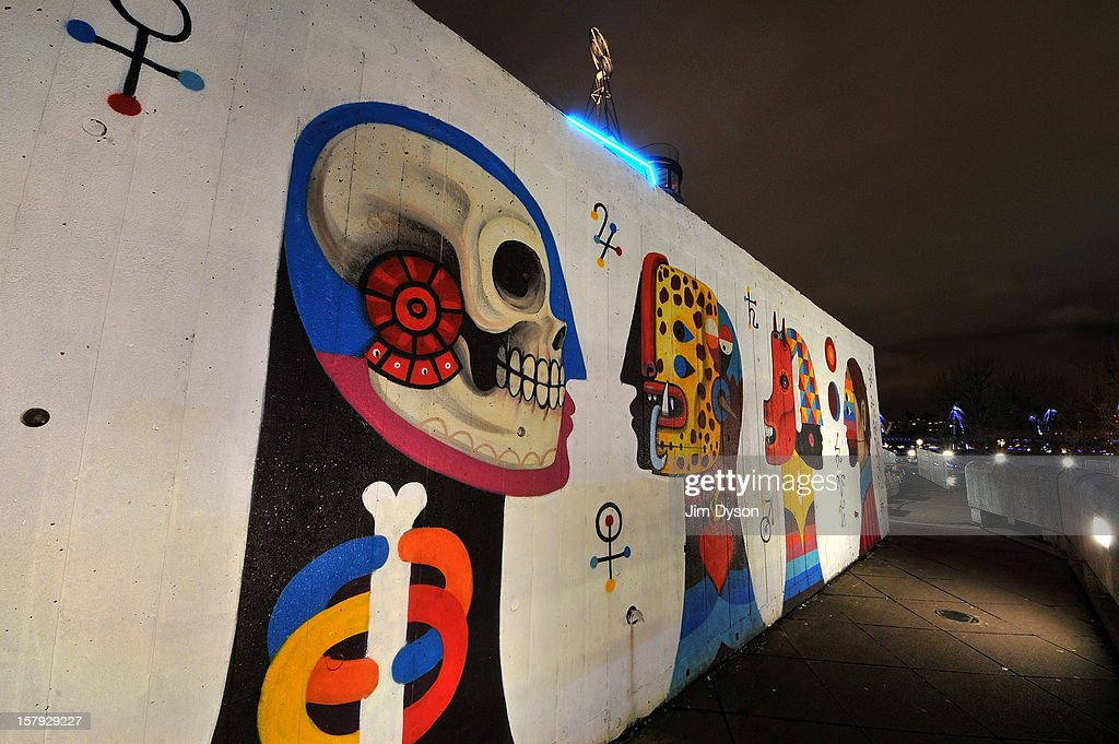 A view of street art outside the Queen Elizabeth Hall on the South Bank on December 7, 2012 in London, England.