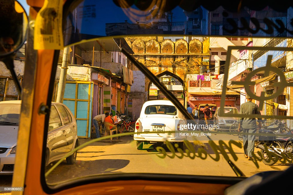 View of Street Life from Rickshaw in Jaipur, India : Stock Photo