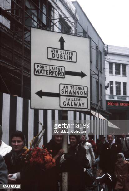 A view of street sign and a Roches Store on October 1 1963 in Limerick Ireland
