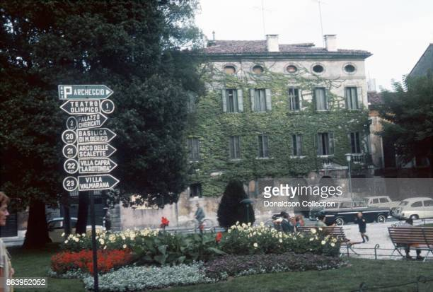 A view of street signs pointing to the various attractions on September 15 1963 in Vicenza Italy