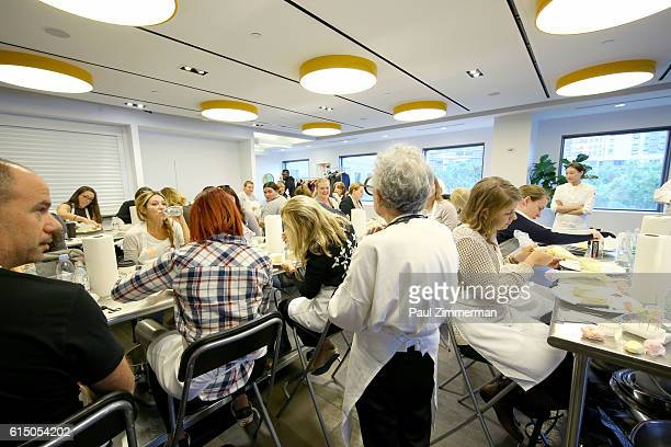 A view of students participating in Cake Decorating Master Class hosted by Sylvia Weinstock at Institute of Culinary Education on October 16 2016 in...