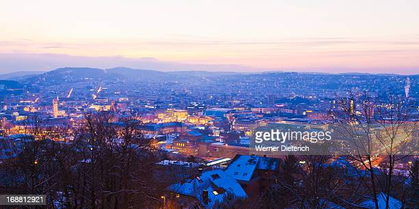 View of Stuttgart at night, Germany