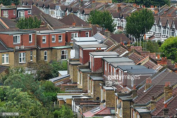 A view of suburban housing in Ealing showing roof dormers and loft conversions on September 17 2016 in London England Ealing is popularly known as...