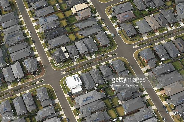 A view of suburban streets from a blimp on April 28 2016 in Sydney Australia The Appliances Online blimp is the only operational blimp in the...
