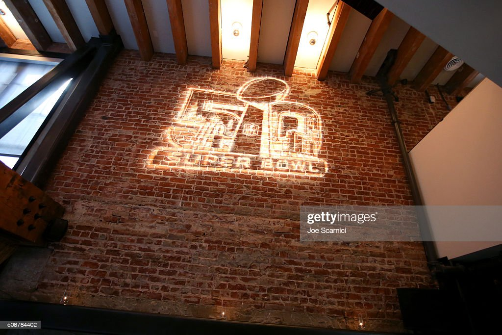 A view of Super Bowl signage during the Fanatics Super Bowl Party on February 6, 2016 in San Francisco, California.