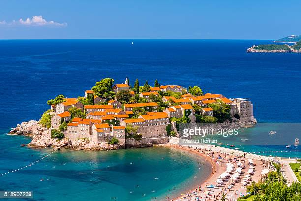 View of Sveti Stefan resort-island, Montenegro.