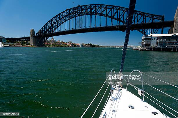 View of Sydney Harbour Bridge from a boat